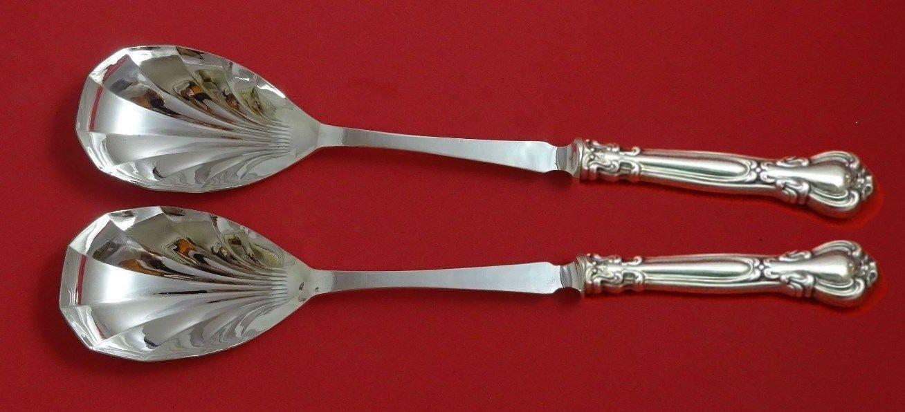 "Chantilly by Gorham Sterling Silver Salad Serving Set 2pc 11 3/8"" Fluted Custom"