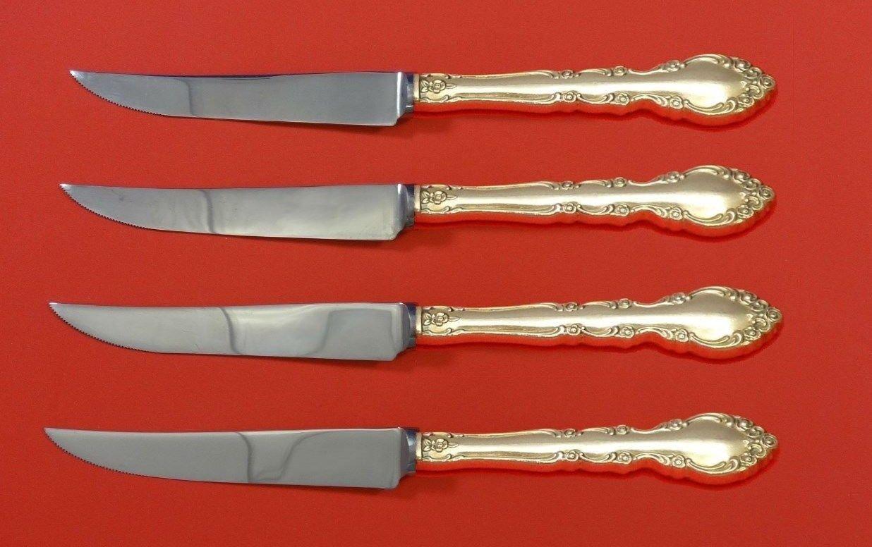 """Grandeur by Oneida Sterling Silver Steak Knife Set 4pc HHWS  Custom Made 8 1/2"""""""