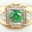 14K Gold Gentlemen'S .93ct Green Genuine Natural Diamond Ring w/Diamonds (#2555)