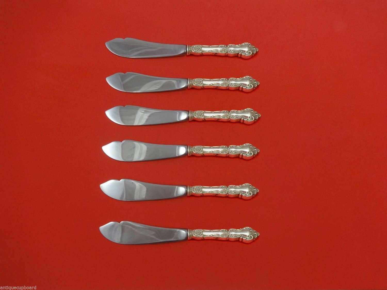 """Meadow Rose by Wallace Sterling Silver Trout Knife Set 6pc. HHWS  Custom 7 1/2"""""""