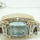 14K Gold Retro Cushion Cut Blue Topaz Bracelet with Diamonds (#1749)
