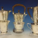 International Sterling Silver Tea Set 6pc w/Teak Handles Modernism (#0482)