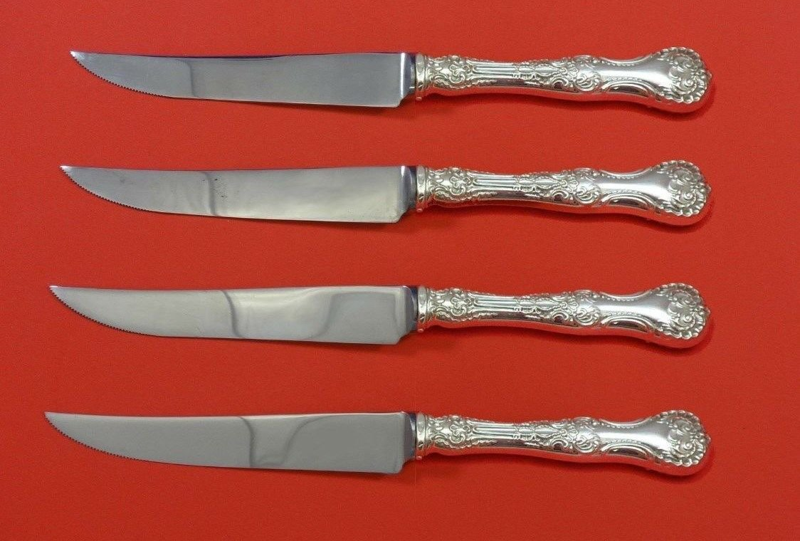 """Pompadour by Whiting Sterling Silver Steak Knife Set 4pc HHWS  Custom 8 1/2"""""""