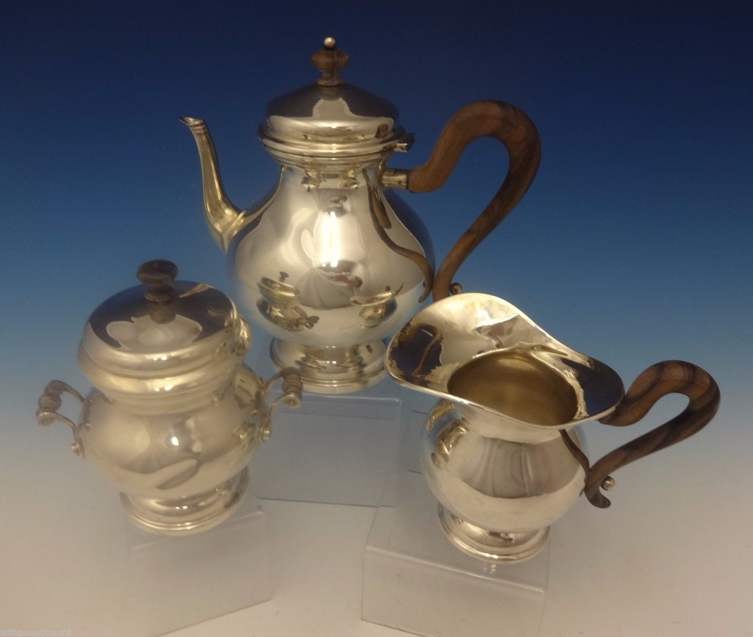 Buccellati Italian Sterling Silver Tea Set 3pc with Rosewood Handles (#0290)
