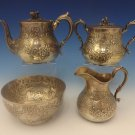 Charters, Cann & Dunn Coin Silver Tea Set 4pc with 3-D Acorn Finials (#0335)