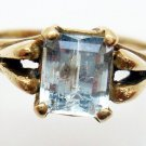 10K Gold 1ct Emerald Cut Genuine Natural Aquamarine Ring (#268)