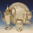 Wedgwood by International Sterling Silver Demitasse Tea Set 3pc w/Tray (#0712)
