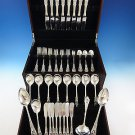 Rose Point by Wallace Sterling Silver Dinner Size Flatware Set 8 Service 60 Pcs