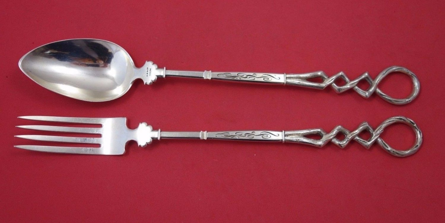 Art Silver Circa 1860-1883 Sterling Silver Salad Serving Set 2pc w/ 3-D Loops
