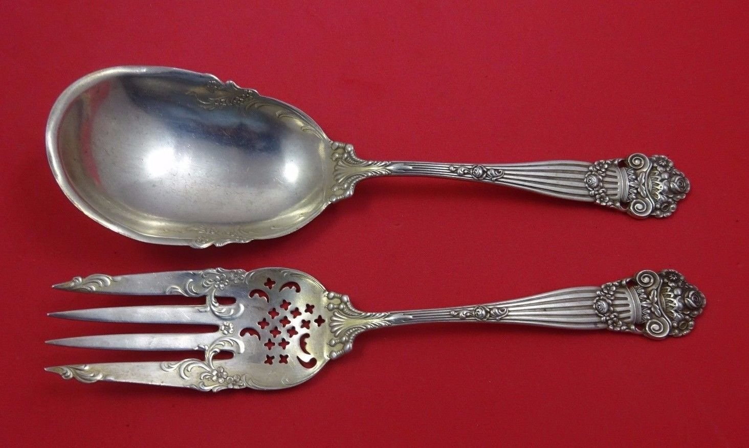 Georgian by Towle Sterling Silver Salad Serving Set 2pc All Sterling 9""
