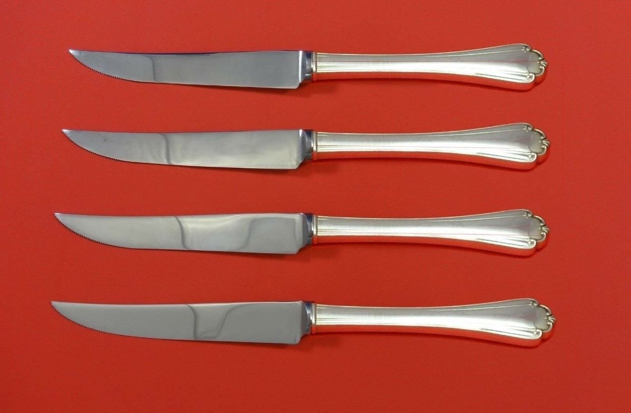 Delicacy by Lunt Sterling Silver Steak Knife Set 4pc HHWS  Custom Made 8 1/2""