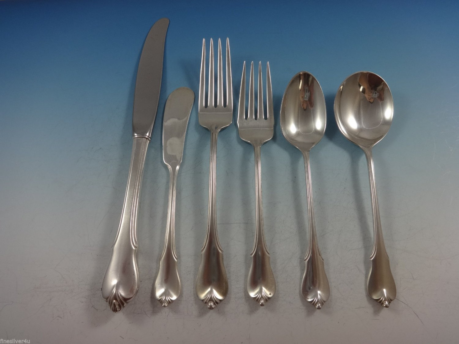 Grand Colonial by Wallace Sterling Silver Flatware Set For 8 Service 55 Pieces