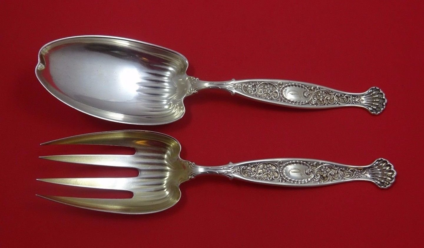 Hyperion by Whiting Sterling Silver Salad Serving Set 2pc All Sterling 9 1/4""