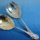 """Chrysanthemum by Durgin Sterling Salad Serving Set Gold Washed 2pc 9 3/8"""""""