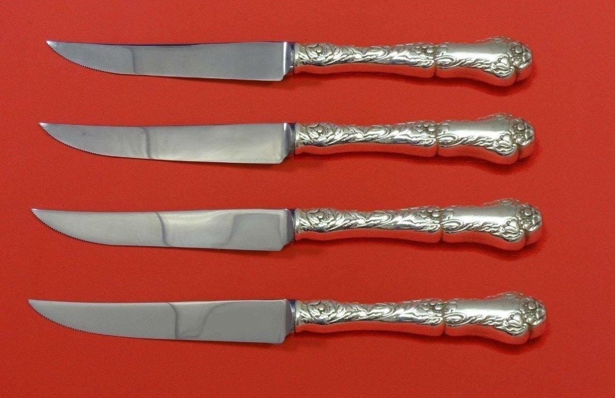 "Poppy by Gorham Sterling Silver Steak Knife Set 4pc HHWS  Custom Made 8 1/2"""