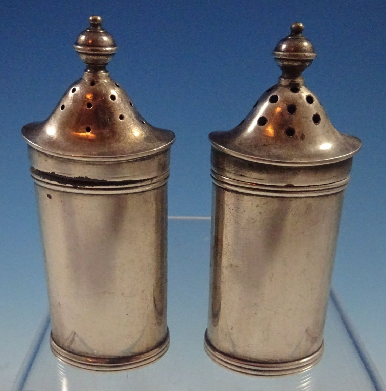 "Tiffany English Sterling Silver Salt & Pepper Shakers Set 2pc 3 1/2"" (#1347)"
