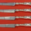 "Bridal Rose by Alvin Sterling Silver Steak Knife Set 4pc HHWS  Custom 8 1/2"""