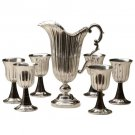 Buccellati Sterling Silver 6 Wine Goblets and Pitcher Set with Stone Italy