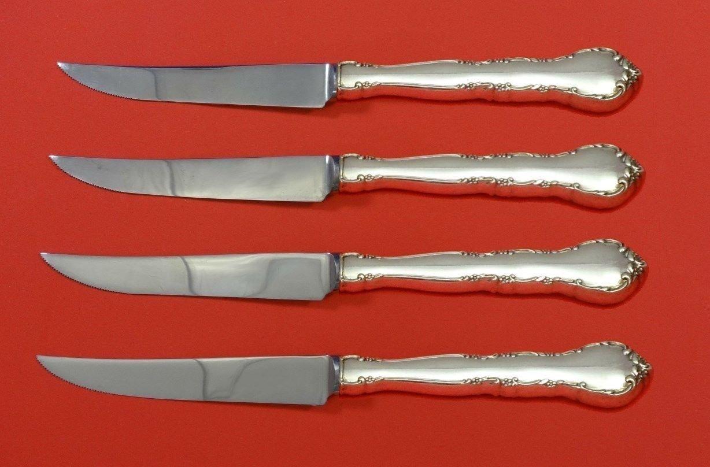 "Mignonette by Lunt Sterling Silver Steak Knife Set 4pc HHWS  Custom Made 8 1/2"""