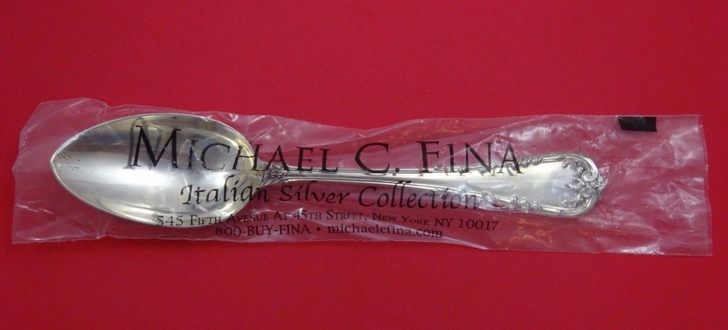"Fleuri by Cassetti Italian Sterling Silver Vegetable Serving Spoon 9 3/4"" New"
