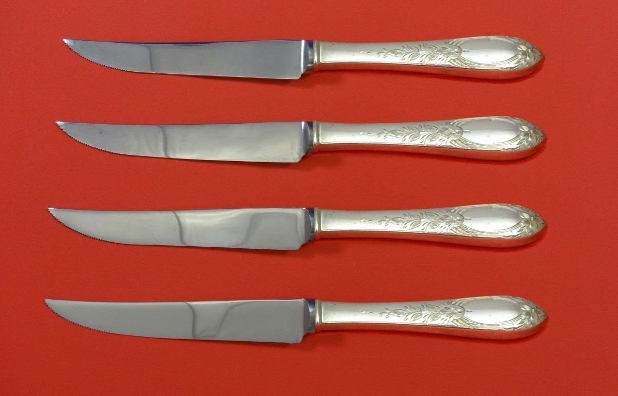 "Primrose by Kirk Sterling Silver Steak Knife Set 4pc HHWS  Custom Made 8 1/2"""