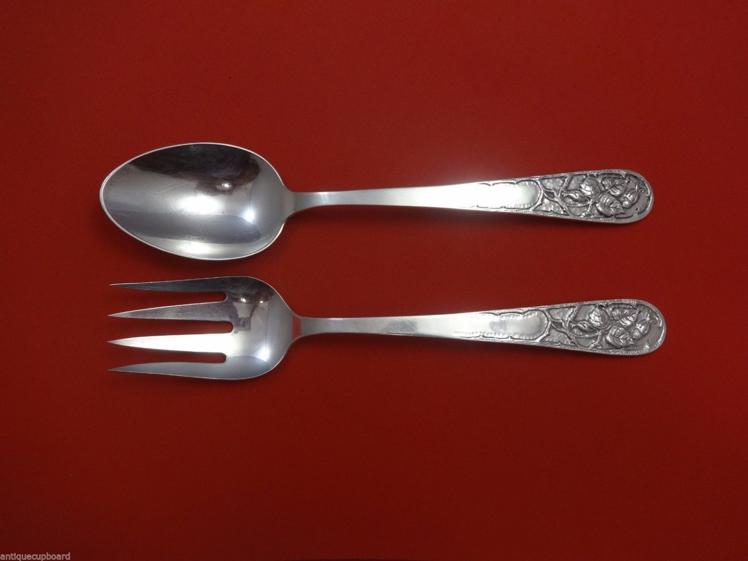 Marshall Field & Co. Sterling Silver Salad Serving Set 2pc AS C1915 10 1/4""