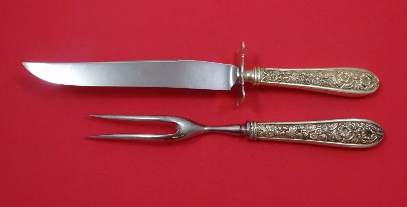 "Corsage by Stieff Sterling Silver Steak Carving Set 2pc with 8 3/4"" Fork"