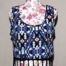 Rue 21 Shirt Crop Tank Top Medium M Fringe Southwestern Blue Pattern NWT