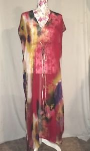 Michael Stars Pastel Gardens Cover Up Kaftan Red One Size New With Defects