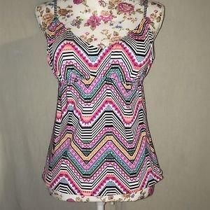 Amica Multi Color Geometric Tribal Tankini Swim Suit Top Women Size XL