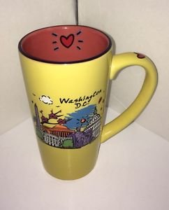 Washington DC Souvenir Yellow Luke-A-Tuke Capsco Tall Coffee Mug Hearts