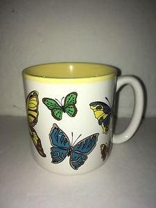 Vintage 1988 Butterflies Potpourri Press Mug Yellow Interior