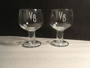 V-8 Etched Logo Goblet Style Juice Glasses