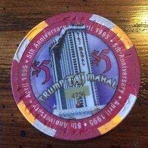 TRUMP Taj Mahal $5 Chip Atlantic City 5th Anniversary 1995 Limited Edition #4756