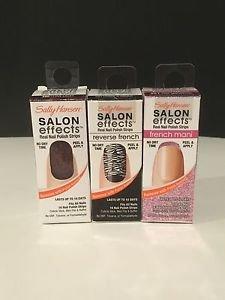 3 NIB Sally Hansen Salon Effects Nail Polish Strips Zebra Red Lace Pink Glitter