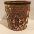 Tiki Mug Cup Bucket Barrel 3 Face Otagiri Faux Wood Planter Pottery OMC Brown