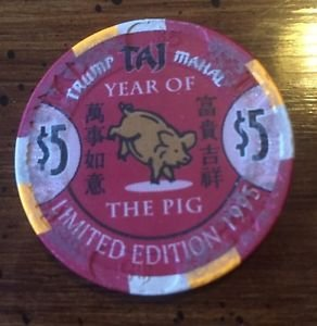 TRUMP TAJ MAHAL $5 Poker Chip, Year of the PIG 1995, LTD ED, Atlantic City, NJ