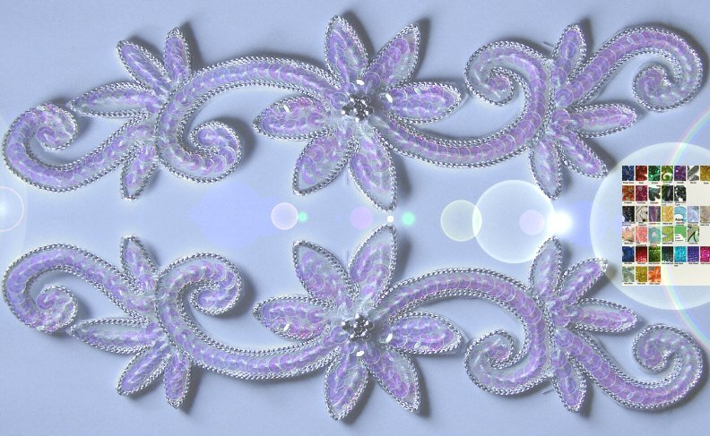 a pair appliques sequins applikationen pailletten sew on embroidery handmade ap7