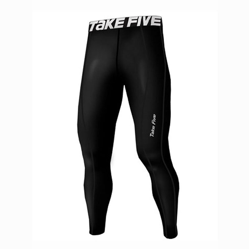 Take Five Mens Lined Skin Tight Compression Base Layer Running Pants Black 222