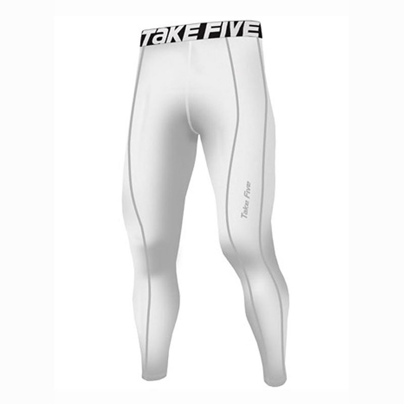 Take Five Mens Lined Skin Tight Compression Base Layer Running Pants White 224