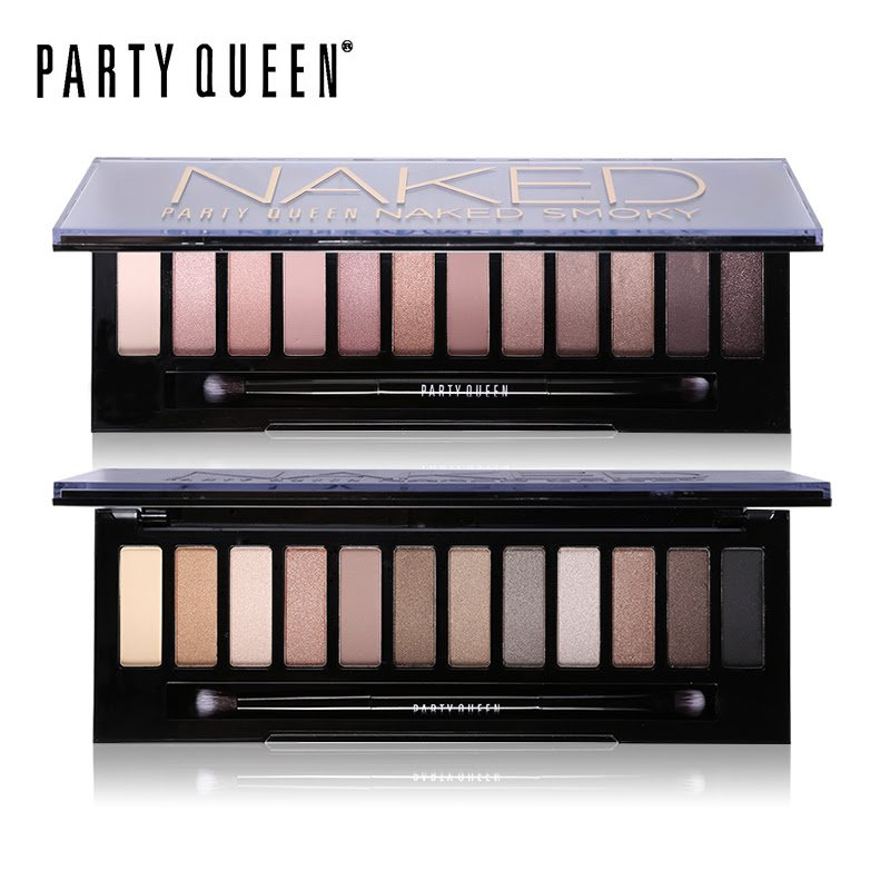 Party Queen 12 Colors Shimmer Matte Naked Eye Shadow Palette Makeup Neutral Glitter Smoky Eyeshadow