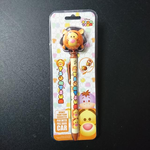 Disney Tsum Tsum Character Tigger Toy Pull Back Car and Pen Stationery