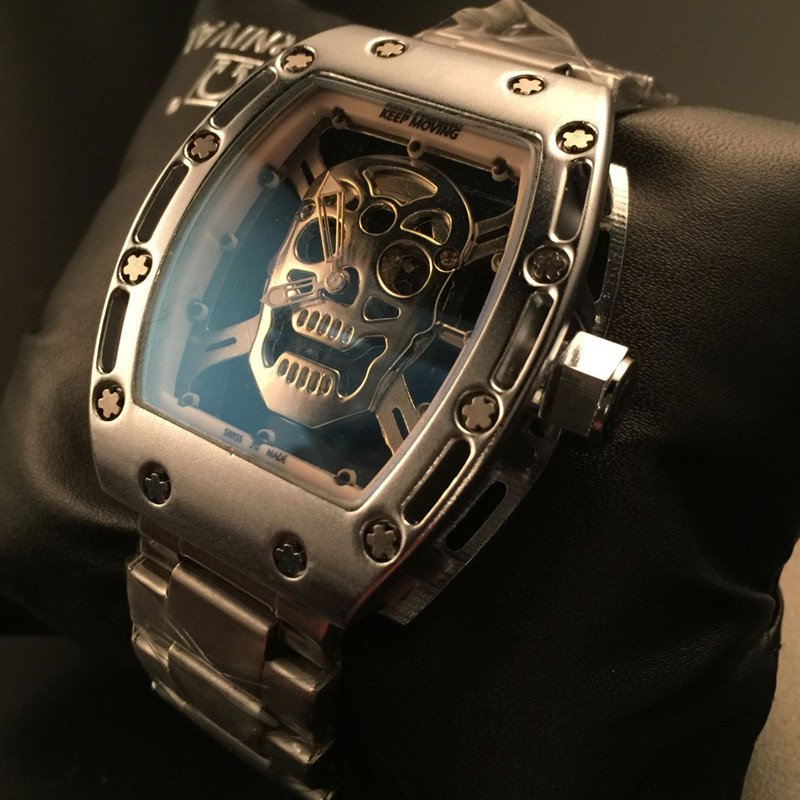 Pirate Skull Watch Men Richard Style silver stainless Steel man Wrist Watches quartz clock