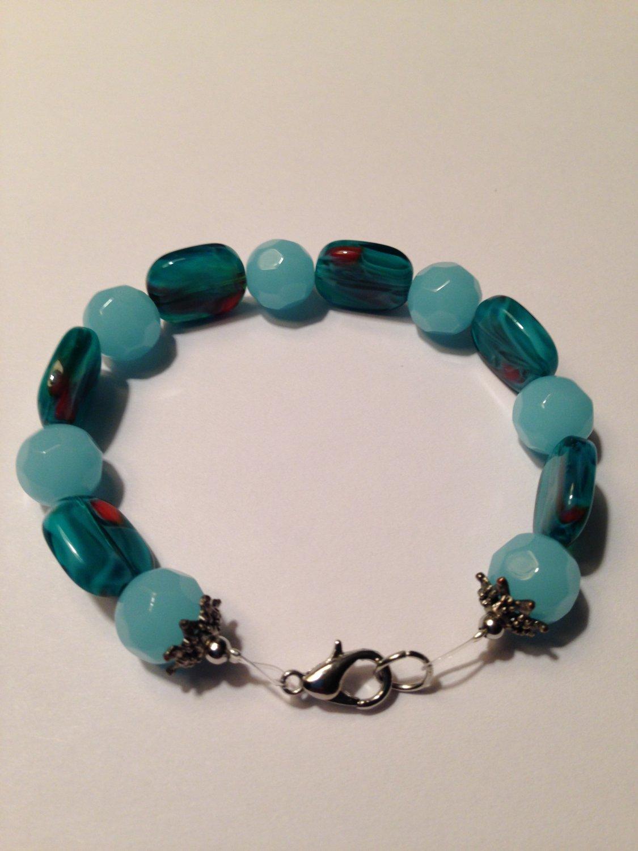 Glass Aqua Bead Bracelet