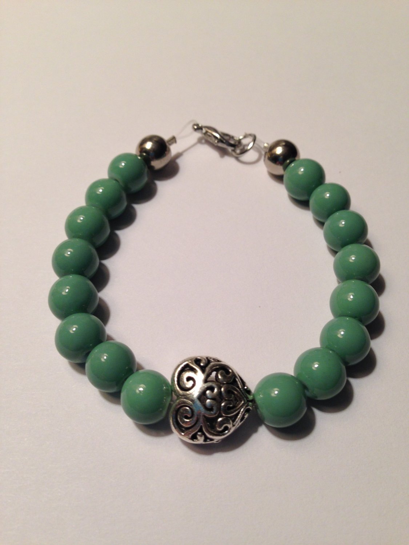 Bead Bracelet Aqua Green