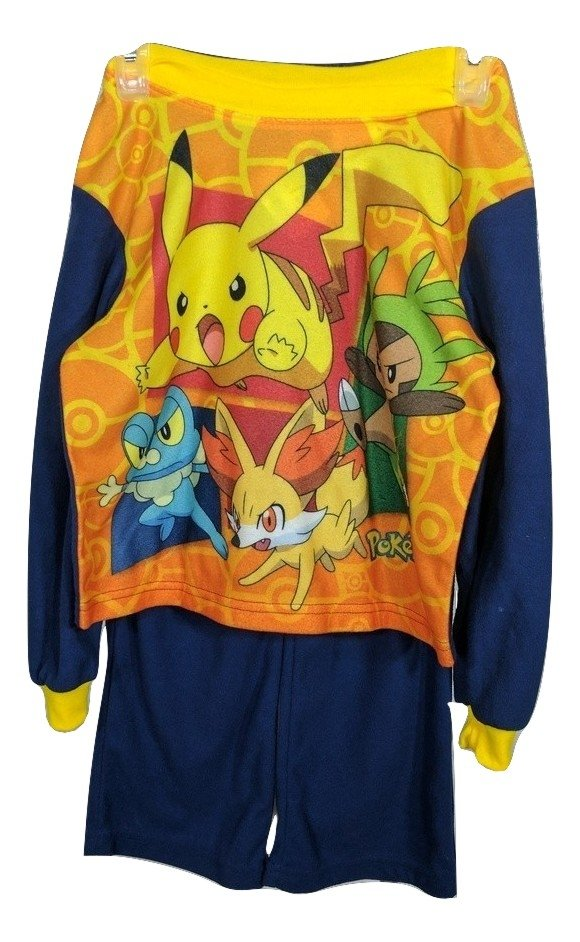 New, Pokemon 2 Pc. Flannel Long Sleeve, Pajama Set Boy, Size 4/5,Flame Resistant