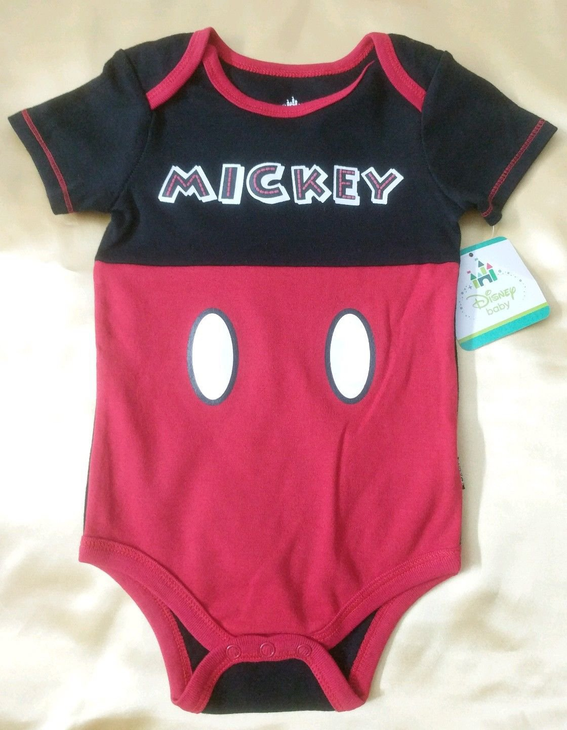 New, Disney Baby Boy Mickey Mouse Baby Creeper Bodysuit One Piece Size 12 Months