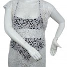 New, Love University, Lace Crop Top With Ties In The Back, Short Sleeves Color White, Size Medium