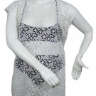 New, Love University, Lace Crop Top With Ties In The Back, Short Sleeves Color White, Size Large