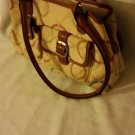 Ladies HANDBAG PURSE Beige/Tan Trim